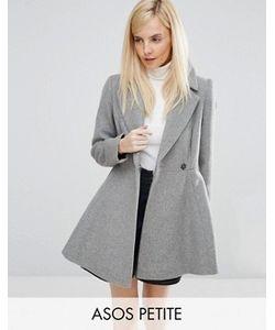 ASOS PETITE | Короткое Расклешенное Пальто С Добавлением Шерсти С Большим Воротником И Поясом