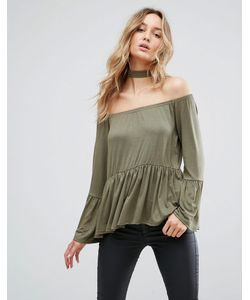 Daisy Street | Off The Shoulder Top With Flare Hem And Sleeve