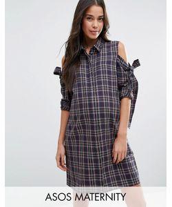 ASOS Maternity | Платье-Рубашка В Клетку С Бантами И Вырезами На Плечах