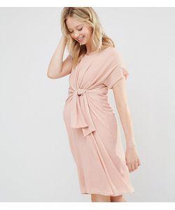 Mama Licious | Тканое Платье С Короткими Рукавами И Узелком Спереди Mamalicious