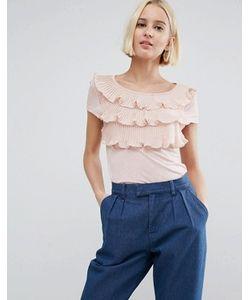 Vero Moda | Ярусная Рубашка С Короткими Рукавами И Оборками Спереди