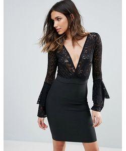 WOW Couture | Бандажное Облегающее Платье С Кружевным Верхом И Глубоким Вырезом