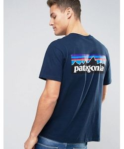 Patagonia | Темно-Синяя Футболка Классического Кроя С Логотипом На Спине P-6