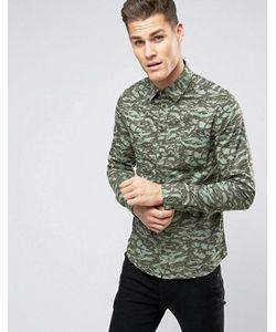 Blend | Рубашка Классического Кроя С Камуфляжной Отделкой
