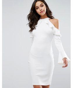 Club L | Платье Миди С Вырезами И Рюшами На Плечах