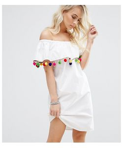 Noisy May Petite | Платье С Открытыми Плечами И Отделкой Помпонами