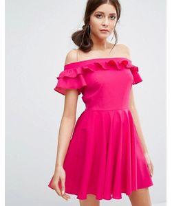 boohoo | Ruffle Bardot Skater Dress