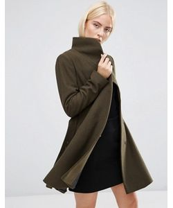 Asos | Короткое Расклешенное Пальто С Воротником-Трубой