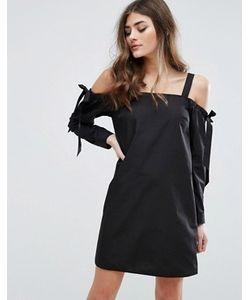 Miss Selfridge | Платье С Открытыми Плечами И Бантиками На Рукавах