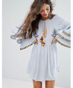 Glamorous | Свободное Платье С Отделкой И Оборками На Рукавах Premium