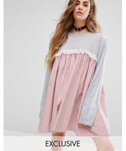 Reclaimed Vintage | Платье С Длинными Рукавами И Контрастной Вставкой