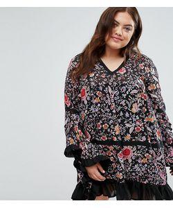 Boohoo Plus | Платье С Цветочным Принтом И Рюшами По Низу