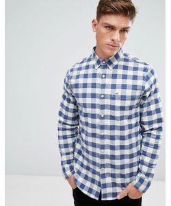 Hollister | Темно-Синяя Оксфордская Рубашка Узкого Кроя В Решетчатую Клетку