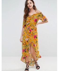 boohoo | Платье Макси Со Спущенными Плечами И Асимметричным Подолом