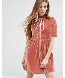 Motel | Бархатное Платье С Завязкой На Бант У Горловины