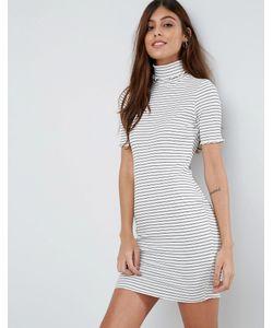 Asos | Полосатое Облегающее Платье В Рубчик С Отворачивающимся Воротником