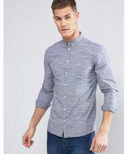Minimum | Темно-Синяя Рубашка На Пуговицах Из Меланжевой Ткани В Полоску Miro