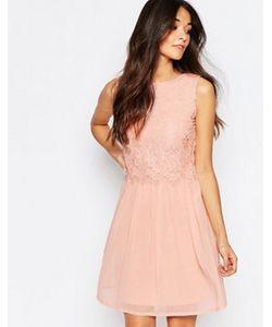 Club L | Короткое Приталенное Платье С Кружевной Отделкой