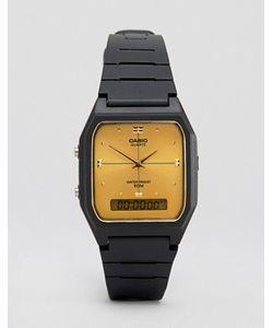 Casio | Часы С Золотистым Циферблатом И Черным Каучуковым Ремешком Aw48he-9a