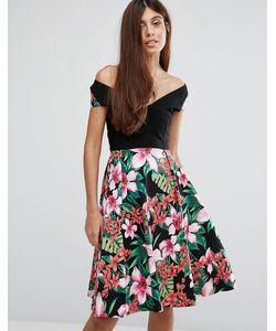 Vesper   Короткое Приталенное Платье С Широким Вырезом И Цветочным Принтом