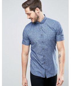 BOSS Orange | Темно-Синяя Приталенная Рубашка С Короткими Рукавами И Цветочным Принтом