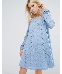 J.O.A | Кружевное Свободное Платье С Открытыми Плечами И Кисточками