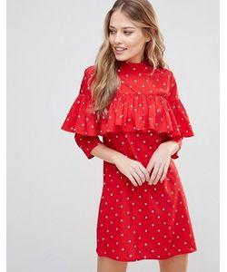 Influence   Цельнокройное Платье С Рюшами В Верхней Части И Высокой Горловиной