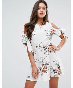 MISSGUIDED | Платье С Цветочным Принтом И Завязками На Рукавах