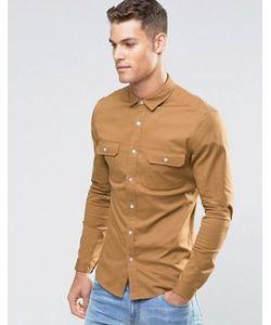 Asos | Светло-Коричневая Саржевая Рубашка Скинни В Стиле Милитари С Длинными Рукавами