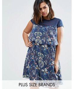 Koko | Платье-Трапеция С Сетчатой Вставкой И Оборкой Plus