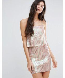 Endless Rose | Плиссированное Платье Металлик С Накладкой