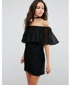 Asos | Кружевное Платье С Открытыми Плечами И Рюшами