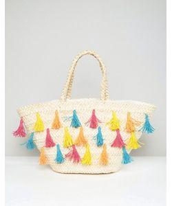 South Beach | Straw Beach Bag With Coloured Tassels