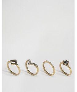 Asos | 4 Винтажных Наборных Кольца С Камнями