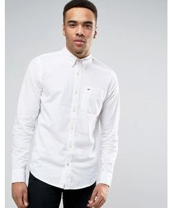 Hollister | Slim Stretch Poplin Shirt Buttondown Seagull Logo In