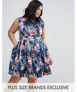 Closet Plus | Короткое Приталенное Платье С Цветочным Принтом