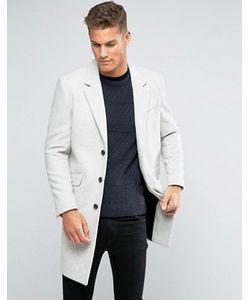 Asos | Серое Меланжевое Пальто Из Шерстяной Смеси