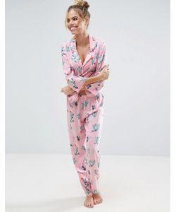 Asos | Пижамная Рубашка И Штаны С Принтом Кактус