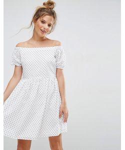 Asos | Свободное Платье С Открытыми Плечами Из Ткани Добби В Горошек