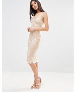 Club L | Платье Миди На Бретельках С Кружевной Накладкой