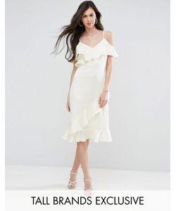 Y.A.S Tall | Платье Миди На Бретелях С Открытыми Плечами И Оборками Y.A.S Studio