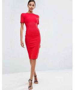 Asos | Облегающее Платье Миди В Рубчик