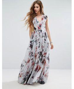Religion | Платье Макси С Оборкой И Цветочным Принтом