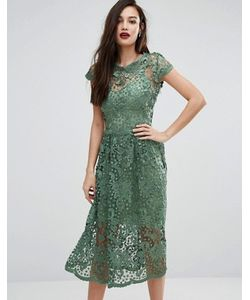 Body Frock | Кружевное Приталенное Платье Миди С Короткими Рукавами Bodyfrock