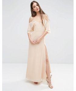 Asos | Платье Макси С Открытыми Плечами Пуговицами И Оборками