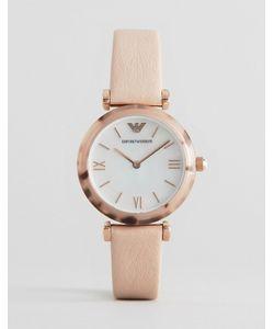 Emporio Armani | Часы С Т-Образным Креплением И Бледно-Розовым Кожаным Ремешком