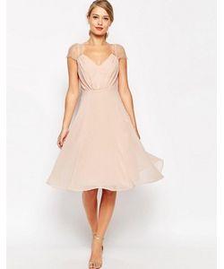 Asos | Платье Миди С Кружевными Вставками Kate