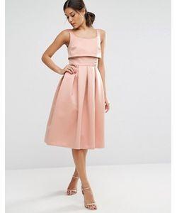Asos | Платье Для Выпускного С Кроп-Топом И Пуговицами
