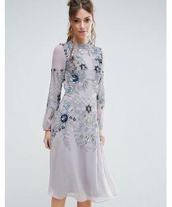 Frock and Frill | Приталенное Платье Миди С Высокой Горловиной И Отделкой