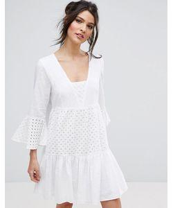 BCBGMAXAZRIA | Летнее Платье С Расклешенными Рукавами И Вышивкой Bcbg